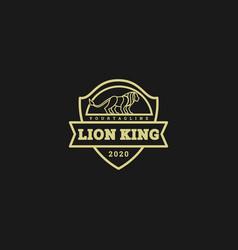Logo lion king vintage badge vector