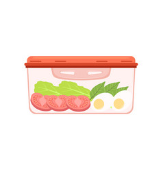 Lunch box with egg and vegetables healthy food vector