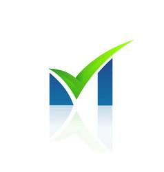 m right latter logo design vector image