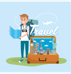 Man with global map to travel around the world vector