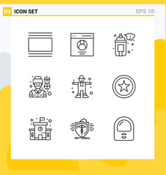 Mobile interface outline set 9 pictograms vector