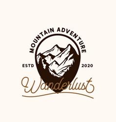 mountain adventure emblem logo template logo vector image