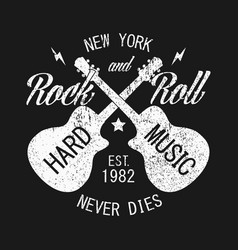 New york rock-n-roll print for apparel with guitar vector