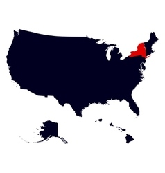 new york state in united states map vector image