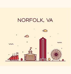 norfolk skyline virginia usa linear style vector image
