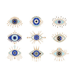 Occult eyes symbols set esoteric signs vector