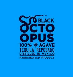 Octopus label packaging design tentacles vector