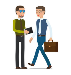 one man shows tablet to another man with suitcase vector image