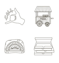 Order pizza gesture box for pizza oven trailer vector