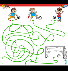 Paths maze game with kid and soccer sport vector