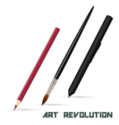 Pencil art brush graphic tablet stylus isolated vector