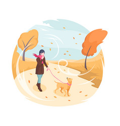 pet walking in autumn wind girl and dog isometric vector image
