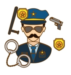 Policeman with his tools icon image vector