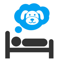 puppy dream flat icon vector image