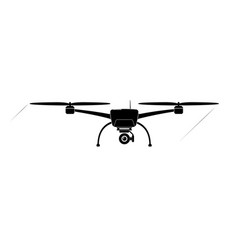 Quadcopter or copter flying in air camera vector