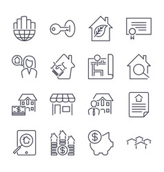Real estate icons on the white background deal vector