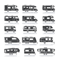 Recreational Vehicle Black Icons vector image vector image