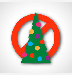red prohibition sign with christmas tree vector image