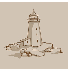 Rock Lighthouse vector