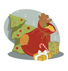 sack with presents for new year and christmas vector image