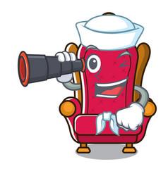 Sailor with binocular king throne mascot cartoon vector