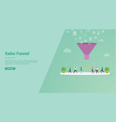sales funnel marketing concept for website vector image