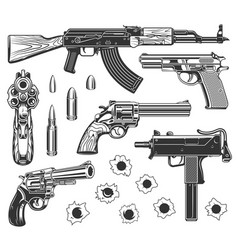 set of bullet holes vector image