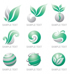 set of symbols of nature vector image vector image