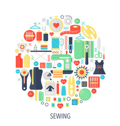 sewing flat infographics icons in circle - color vector image