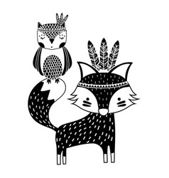 Silhouette owl and fox animals with feathers vector