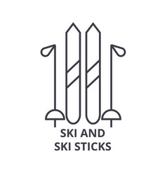 ski and ski sticks line icon outline sign linear vector image
