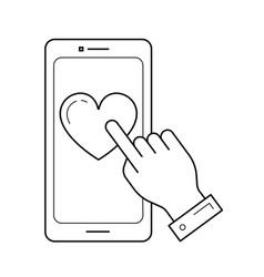 smartphone click line icon vector image