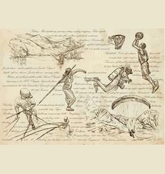 sport mix - an hand drawn line art vector image