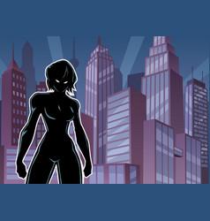 Superheroine battle mode city silhouette vector