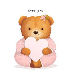 teddy bear holding heart valentine gift card vector image