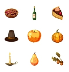 Thanksgiving feast icons set cartoon style vector