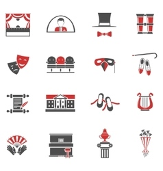 Theatre Red Black Icons Set vector