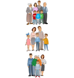 three familly set vector image