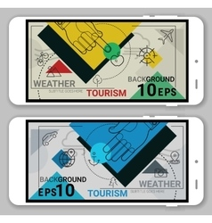 Tourism ad Weather line headers vector