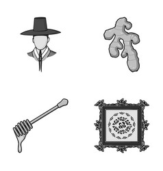 Travel art and other monochrome icon in cartoon vector