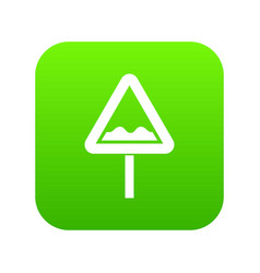 uneven triangular road sign icon digital green vector image