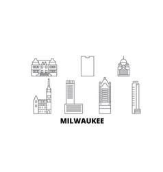 United states milwaukee city line travel skyline vector