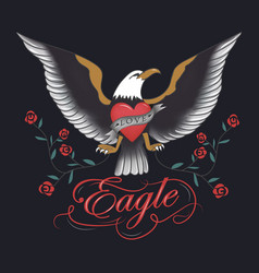 vintage eagle tattoo hand drawn vector image