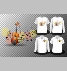 Violin music notes logo with set different vector