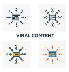 Viral content icon set four elements in diferent vector