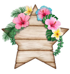 watercolor star shaped wooden tag with tropical vector image