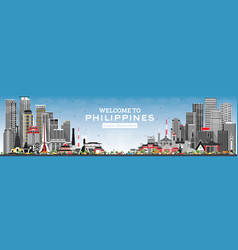 Welcome to philippines city skyline with gray vector