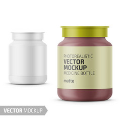 white glass medicine bottle template with label vector image