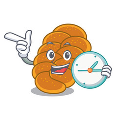 With clock challah character cartoon style vector