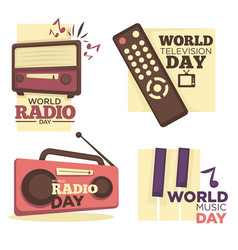 World radio or music and television day logo set vector